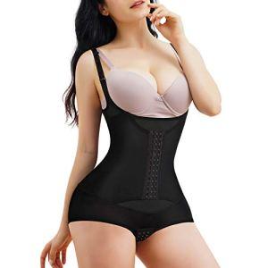 Junlan Femme Gaine Amincissante Body Gainant Ventre Plat Lingerie Gainante Sculptantes (Noir, S)