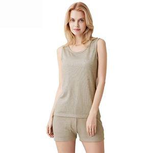 Lhlxs Ensemble de sous-vêtements Anti-rayonnement, 100% Coton Fibre Argent, 5g Communication EMF Blindage sous-vêtements Moulants,Tops+Pants,XXL