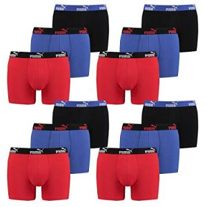 PUMA 12 Pack Boxer Boxershorts Men Pant Underwear Sporty Retro Pants, Farben:030 – Blue/Red, Größe Bekleidung:L