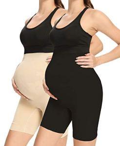 QEAUTY LAB Sous-vêtements de grossesse sans couture pour soutien du ventre, empêche les frottements des cuisses, taille haute mi-cuisse de grossesse – multicolore – Medium