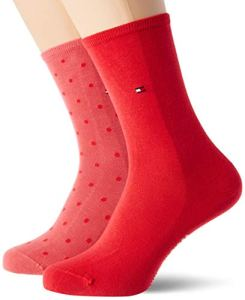 Tommy Hilfiger Dot Women's Socks (2 Pack) Chaussettes, Rouge chiné, 39-42 (Lot de 2) Femme