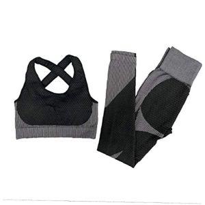 Odoukey Vêtements À Manches Longues Cultures Shirt De Taille en Cours Jambières Pantalons Athlétiques 2pcs