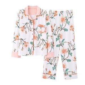 Pyjama De Dames Pantalon Femmes Les Pyjamas en Coton Occasionnels Costume Costume Deux Boutons Devant Sa Femme Et Sa Fille Costume Longues Pantalon Manches (Couleur : Photo Color, Taille : XL)