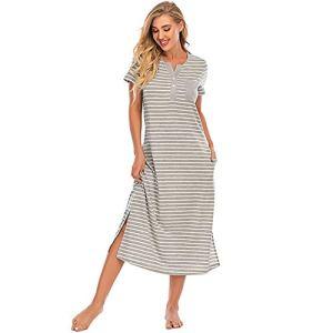 XHJZ Nightgown Womens Strayed Nightshirt Short Sleevewear Top Top Bouton Down Sleep Headdress Tête de Nuit Confy Vêtements de Nuit Salon,Gris,XL