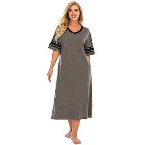 XHJZ Nightgowns Womens V Col Vêtements De Vêtements De Sleep Sleepwear Plus Taille Night Wear Longue Loungewear Nightshirt S-XXL,Gris,L