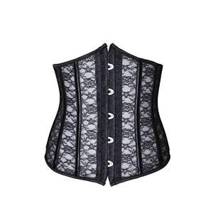 ACYY Corset pour femme – Corset gothique – Corset galbant – Ceinture en dentelle – Corset pour femme – Corset serre-taille – Couleur : noir – Taille : XS