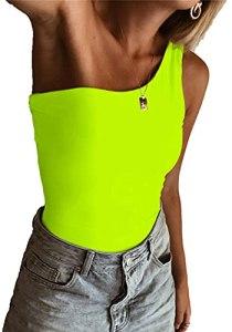 ARTFISH Bodysuit sexy pour femme – Maillot de basique à une épaule – Vert – M