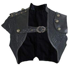 Charmian Women's Steampunk Gothic Lace Brocade Corset Shrug Black X-Large
