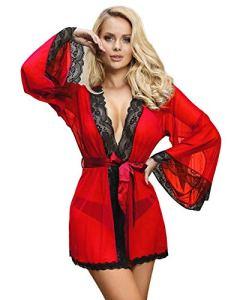 comeondear Nuisette Sexy Femme Chemise de Nuit avec Ceinture Kimono Pyjamas Peignoirs Transparent Grande Taille Manches Longues Dentelle Col V avec G String (Rouge, M-L)