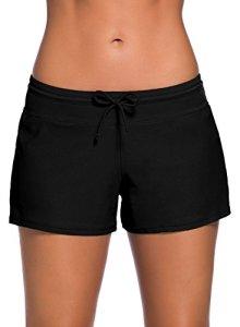 FIYOTE Shorts de Bain Femme Culotte de Maillot Casual Shorty de Plage Bas de Bain Décontracté Noir L(EU44-46)