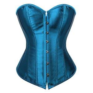 Grebrafan Corset Bustier Femme Sexy Gothique Classiques (EUR(32-34) S,Peacock Bleu)