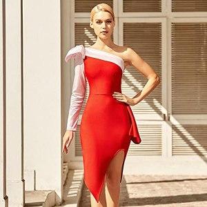 NF Femmes d'été One épaule Rouge Bandage Bandage Bandage Sexy Manches Longues à Manches Longues Celebrity Nuit Clubwear Robes de soirée-Rouge_L
