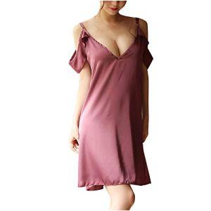 Nuisette sexy en soie pour femme avec porte-jarretelles – Violet – L