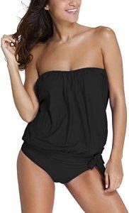 OLIPHEE Femme Tankini Shorty Grande Taille Maillot de Bain 2 Pièces Bikini Bandeau sans Armature Noir,FR 42-44(Tag L)