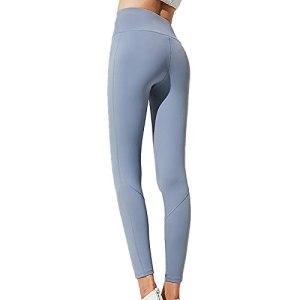 OYUEGE Leggings de fitness avec poche taille haute pour exercice, course à pied, fitness, amincissant et doux – Bleu – M