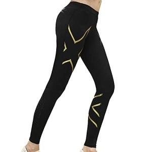 OYUEGE Leggings de fitness, de yoga, de course à pied, d'exercice, de fitness, de yoga pour femme, legging de contrôle du ventre, élastique – Or – XXL