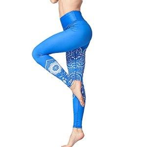 OYUEGE Leggings de sport, de course, de fitness, taille haute, pour le yoga, le contrôle du ventre, imprimé sexy – Multicolore – S