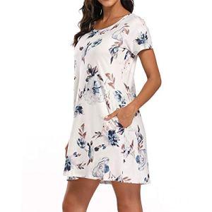 Robe Mi-Longue D'été pour Femme, Robe T-Shirt Décontractée D'été à Col Rond, Robes Tuniques à Manches Courtes Ample avec Conception De Poches, Jupe Imprimé Floral pour Fête à La Plage