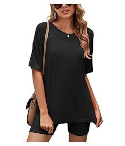 Summer Two-Pièce T-Shirt à Manches Courtes Occasionnel et Short Pajama Costume de Pyjama Loisirs en Plein air (Color : Black, Size : Medium)
