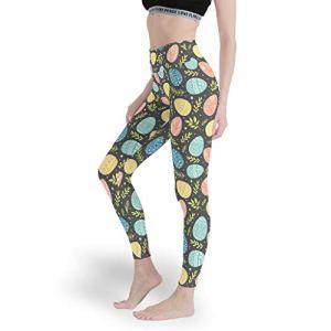 superyu Pantalon de yoga en coton et élasthanne doux pour femme, motif œufs de Pâques, blanc, taille S