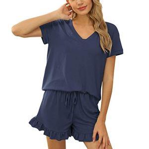 XHJZ Pajama pour Femmes Manches Courtes Sleepwear Soft PJ Ensemble Vol V EC et Court Pajamas Ensemble,Navy Blue,XXL