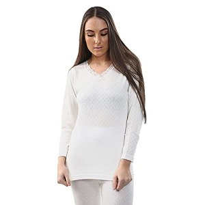 2 Pack Womens Hot Stuff Co Thermal Long Sleeve Vest White 2XL