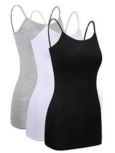 3 Pièces Femmes Cami Layering de Base Long Camisole Débardeurs Ajustable Spaghetti Strap Cami Camisole Débardeur (Noir, Blanc, Gris, Taille XXL)