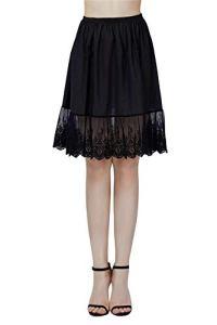 BEAUTELICATE Femme Jupon Dentelle Lingerie sous-Jupe Robe Coton Ivoire Noir Court Mi-Long pour Marige Fille (Noir – 60cm Longueur, M)