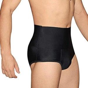 Chargeur de Fesses pour Hommes, Taille Haute Taille Schap Culottes de Rechange sur l'abdomen Abdomen Compression BoxersHortes Body Slimming Fitness Gym Pants (Color : Noir, Size : S)