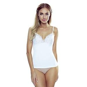 ELDAR Laila Chemise pour femme avec bretelles spaghetti réglables et large bordure en dentelle, col en V, 100 % coton, taille S-XL, élastique et confortable – Blanc – XL