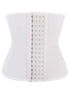 FeelinGirl Corset Minceur Latex Serres-taille Ventre Plat Invisible Gaine Amincissante Haut Ceinture Formateur de Taille 4 Crochets pour Femme Acier Plates Beige L
