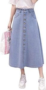Femmes de Haute Taille Bouton vers Le Bas Un-Ligne Longue Denim Jupe avec Poches (Light Blue,S)