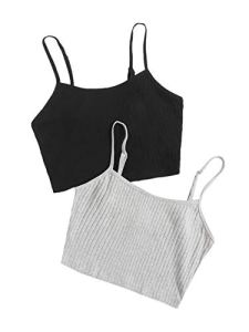 Floerns Women's 2 Pcs Solid Spaghetti Strap Camisole Rib Knit Cami Crop Top Black Grey XL