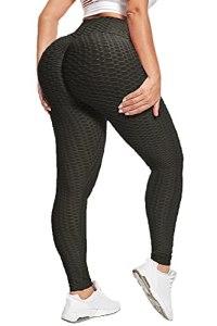 HONYAR TIK Tok Legging en nid d'abeille pour femme – Taille haute opaque gainant le ventre pour femme avec course à pied, entraînement, gym – Noir – XXL
