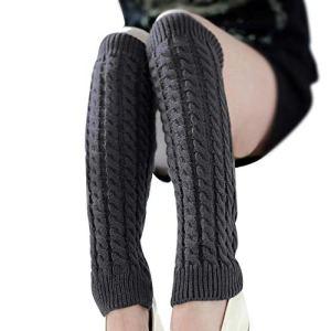 HUAHUA Long Chaussettes Mode féminine Hiver Chaud Jambières en Tricot Crochet Longues Chaussettes médias de Mujer Kawaii Chaussettes for la Vrouwen Girl (Color : Grey, Size : One Size)