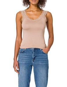 Pieces Pcbarbera Lace Top Noos Caraco, Taupe, S Femme