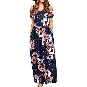 Robe d'été longue pour femme – Épaules dénudées – Élégante – Décontractée – Avec imprimé floral léopard rayé – Manches courtes – Robe décontractée avec poches. – Multicolore – Taille Unique