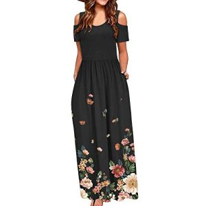 Robe d'été pour femme – Épaules dénudées – Motif papillon – Pivoine – Style vintage – Robe de soirée élégante – Avec poches – Multicolore – Taille Unique