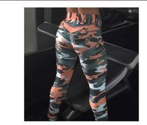 SuoSuo GWTRY Impression de Camouflage Elasticité Leggings Camouflage Fitness Pantalon Legging Legins Casual for Les Femmes (Couleur : Orange, Taille : M)