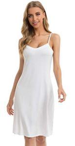 Vlazom Fond de Robe Femme Modal sous Robe Antistatique Gainant Jupons Mini Robe Blanc, L