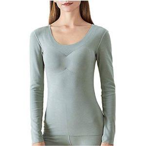 Xin Hai Yuan Sous-vêtements thermiques d'hiver à manches longues pour femme avec rembourrage de poitrine, vert, M