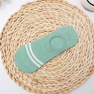 1 paire rayures colorées invisibles chaussettes courtes été Summer confortable coton fille bateau chaussettes chaussettes cheville basse femme (Color : Ws97lan, Size : One Size)