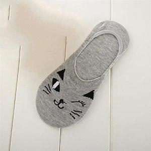 5 paires de chaussettes d'animaux mignons d'été femmes respirant coréen chat coréen feller chaussettes invisibles chaussettes à la cheville basse coupée (Color : Grey, Size : Size For 35 39)
