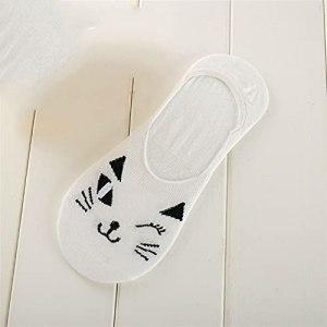 5 paires de chaussettes d'animaux mignons d'été femmes respirant coréen chat coréen feller chaussettes invisibles chaussettes à la cheville basse coupée (Color : White, Size : Size For 35 39)