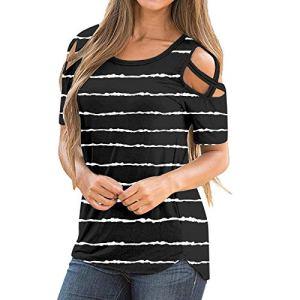 AIchenYW T-shirt élégant pour femme – Épaules dénudées – Col rond – Manches courtes – Motif floral – Décontracté – Basique – Multicolore – Simple – Oversized – Pour adolescentes et filles – – L