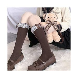 Calf Lolita Chaussettes Dentelle Princesse Ruban Chaussette Femme Douce Soeur Bowknot Solide Couleur Douce Chaussettes mi Chaussette (Color : Brown, Size : One Size)