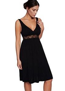 ESOTIQ Robe de nuit Elindor – Pour femme – Tissu fluide – Bretelles larges – Encolure en V – Effet enroulé – Taille haute avec large bordure en dentelle – Noir – S