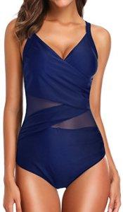 EUDOLAH Femme Maillot de Bain 1 pièce Amincissante Slim Grande Taille Bikini Transparent (M (FR 38), Bleu Marine-1)