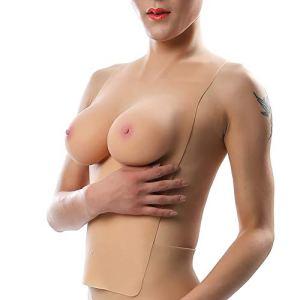 Formes mammaires en Silicone Wearable Boobs Faux Sein Artificiel Licol col Montant pour Hommes et Femmes Drag Queen Crossdresser Transgenre,Color 1
