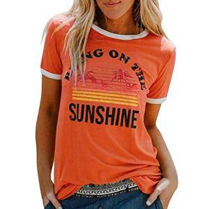 HWGOOD Chemisier d'été à manches courtes pour femme – T-shirt avec imprimé lettres – Col rond – Décontracté – Basic – Élégant – Respirant – Confortable – – Taille XXL